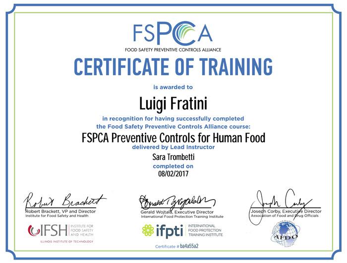 Certificato FSPCA